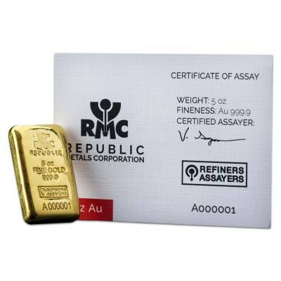 5 oz Republic Metals (RMC) Gold Bar .9999 Fine (w/Assay)