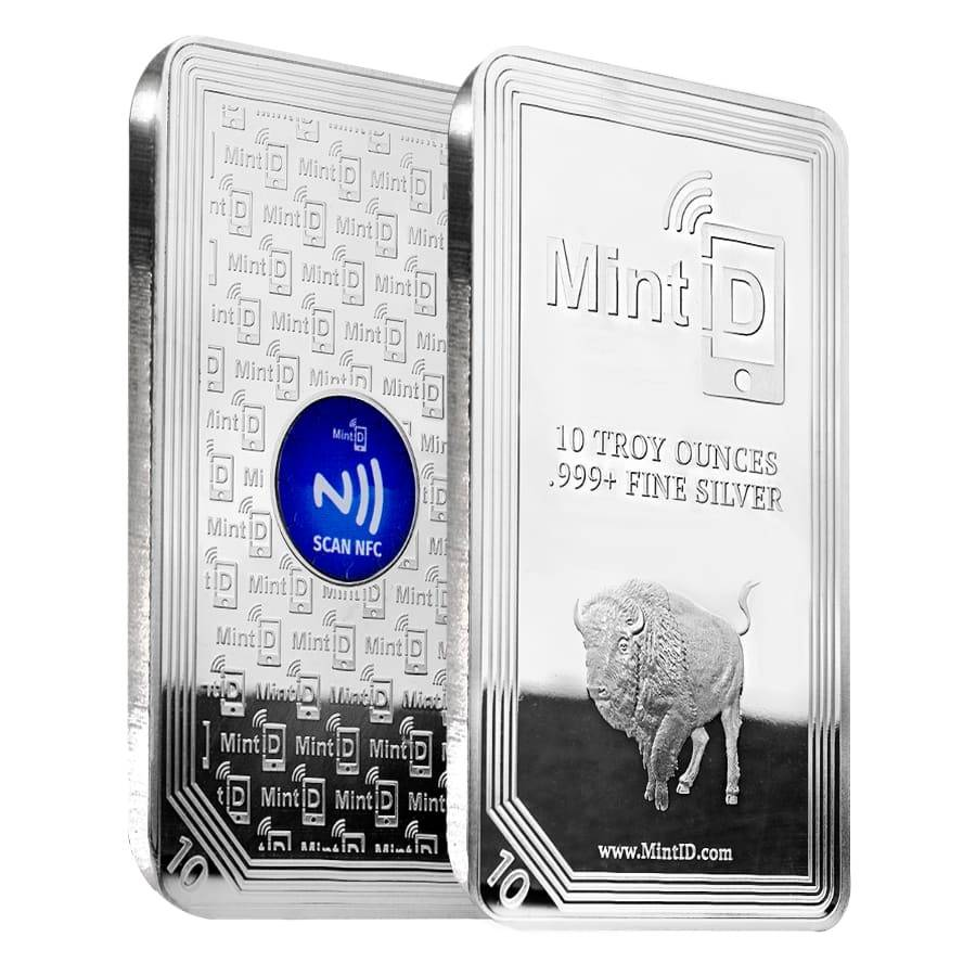 10 oz MintID Buffalo Silver Bar .999+ Fine (NFC Scan Authentication)