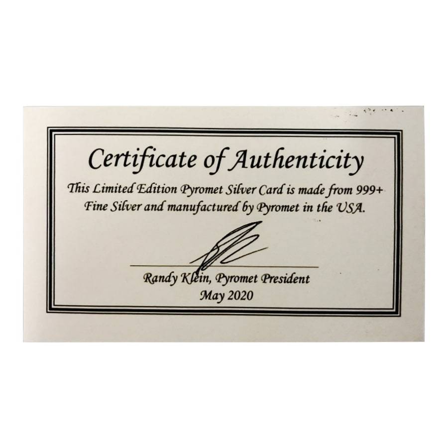 1 Oz .999 Silver Card Pyromet Comes With Sleeve And COA bullion