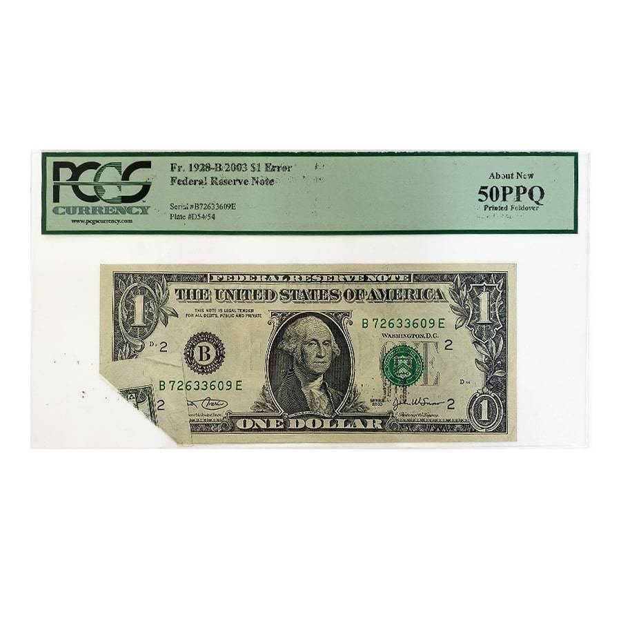 2003 $1 Federal Reserve Currency Note Error PCGS AU 50 PPQ (Printed Foldover)