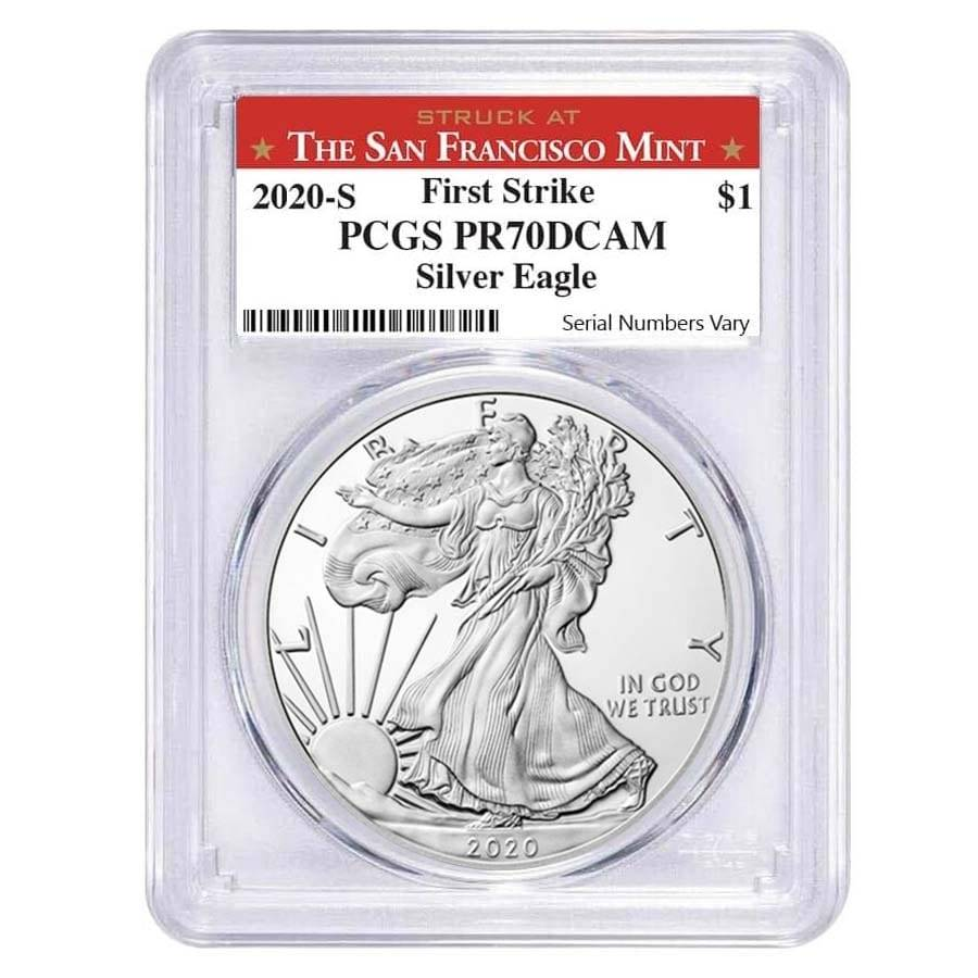S 2020 1 oz Silver American Eagle Coin PCGS MS 70 FS SF Label Emergency Issue