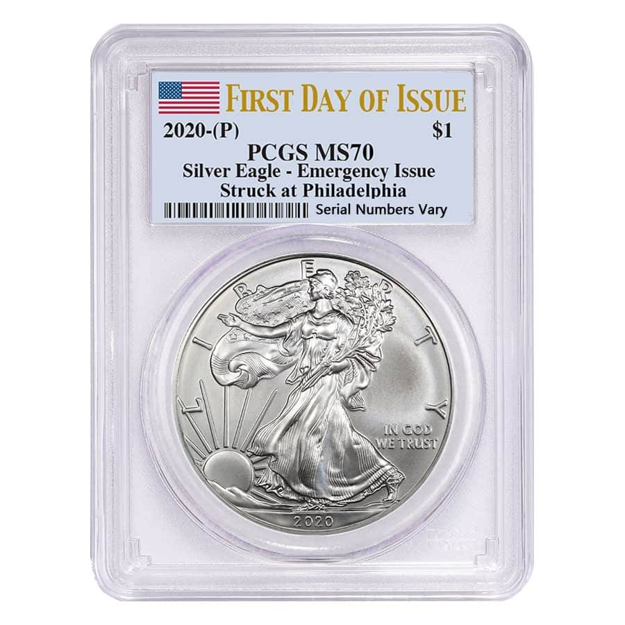 2020 (P) 1 oz Silver American Eagle PCGS MS 70 FDOI Emergency Issue