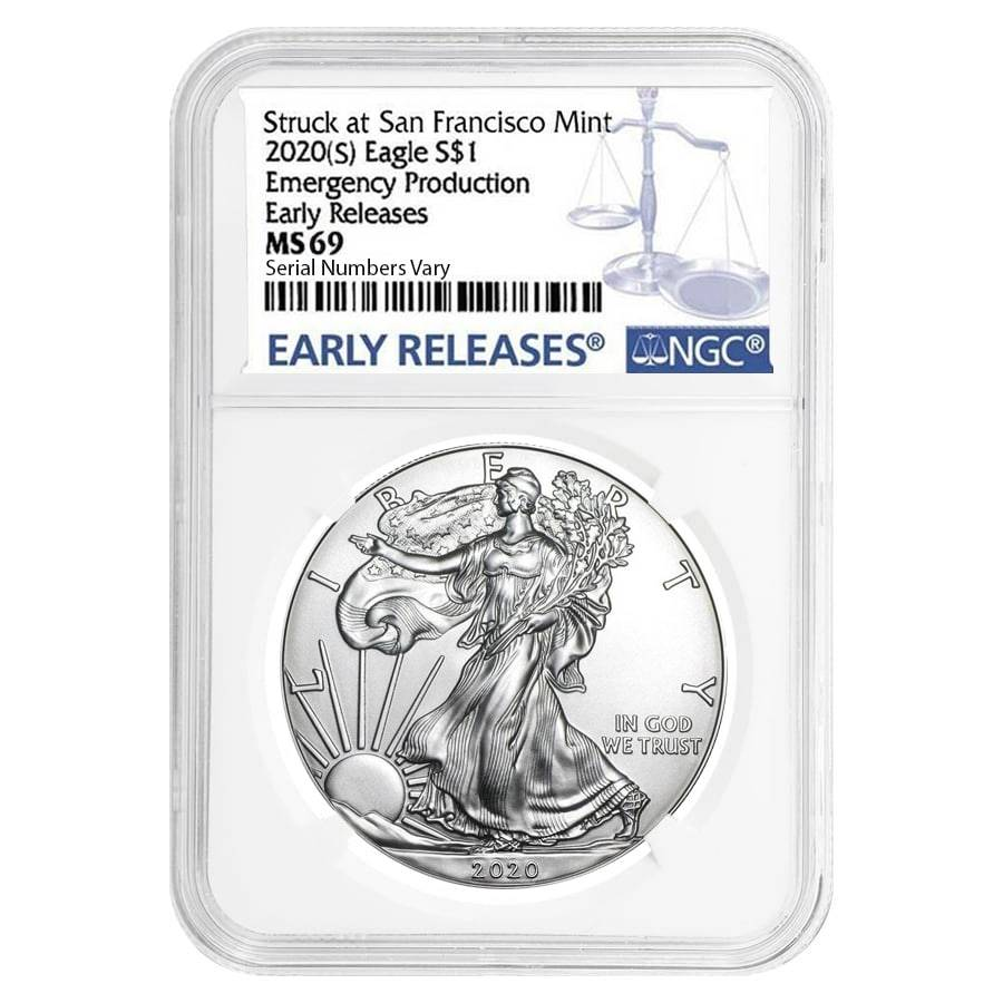 2020 (S) 1 oz Silver American Eagle $1 Coin NGC MS 69 ER Emergency Production
