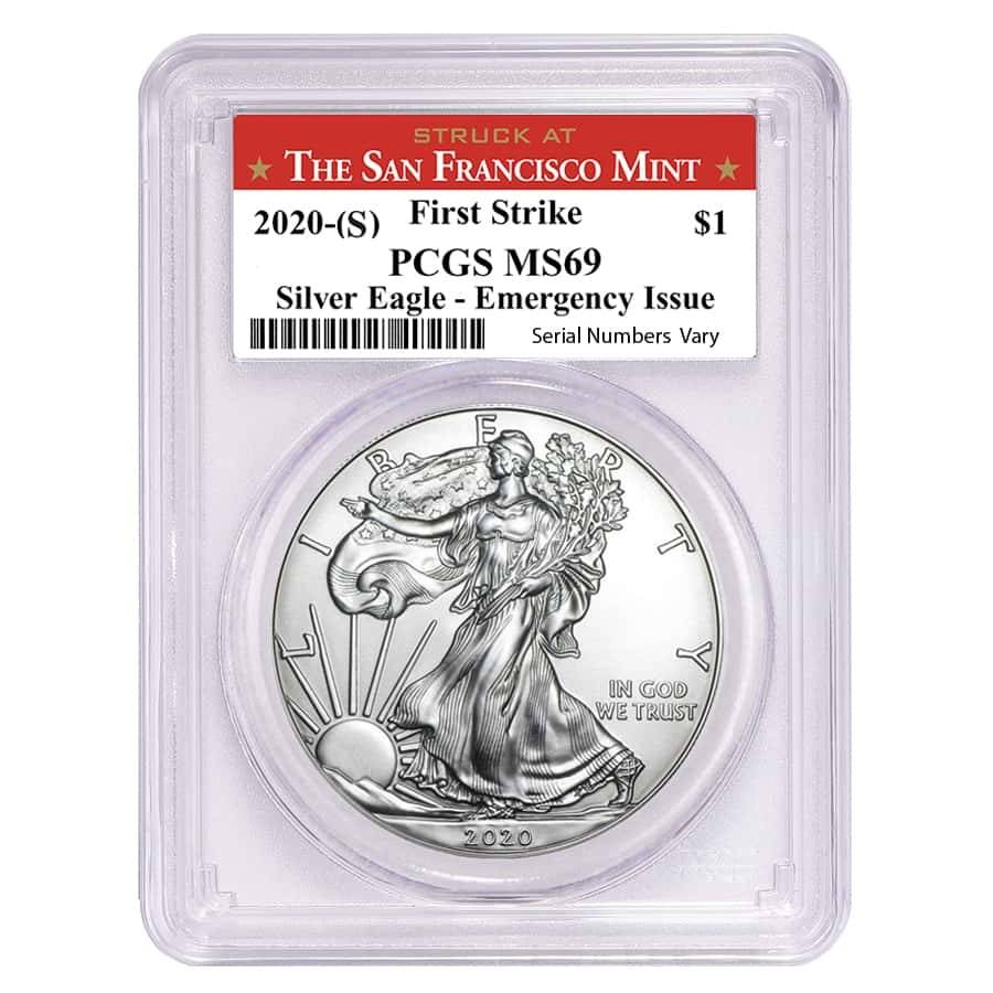 2020 (S) 1 oz Silver American Eagle $1 Coin PCGS MS 69 FS (SF Label) Emergency Issue