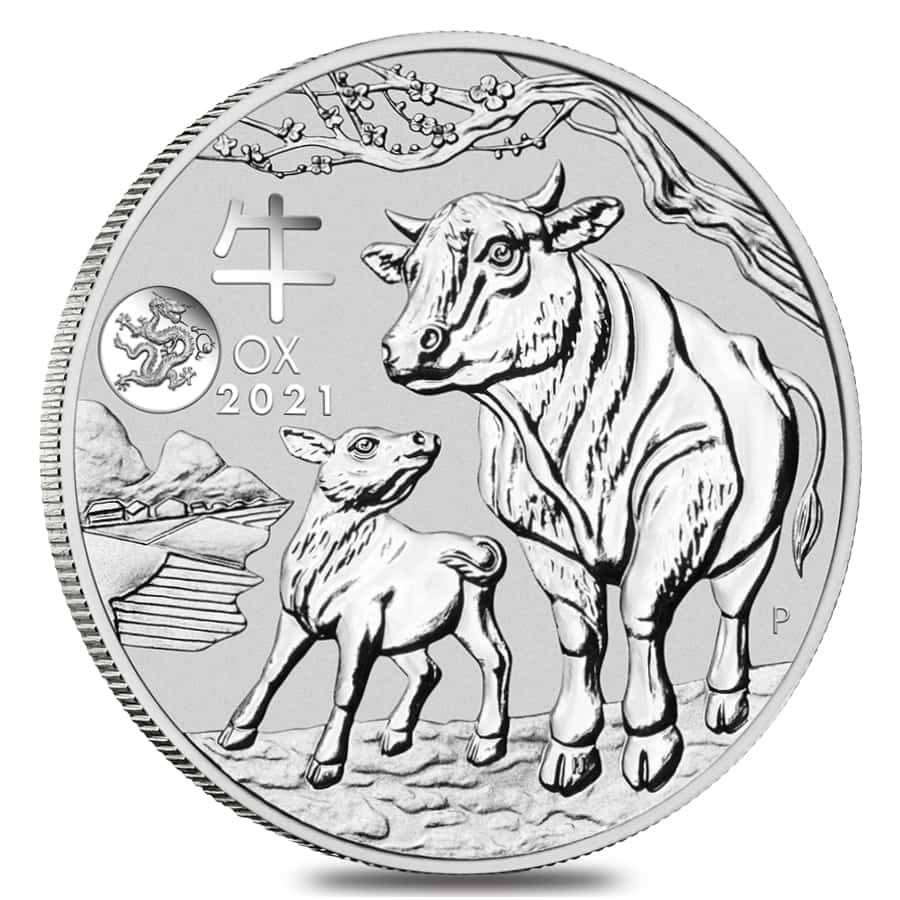 2021 1 oz Silver Lunar Year of The Ox Dragon Privy BU Australian Perth Mint In Cap