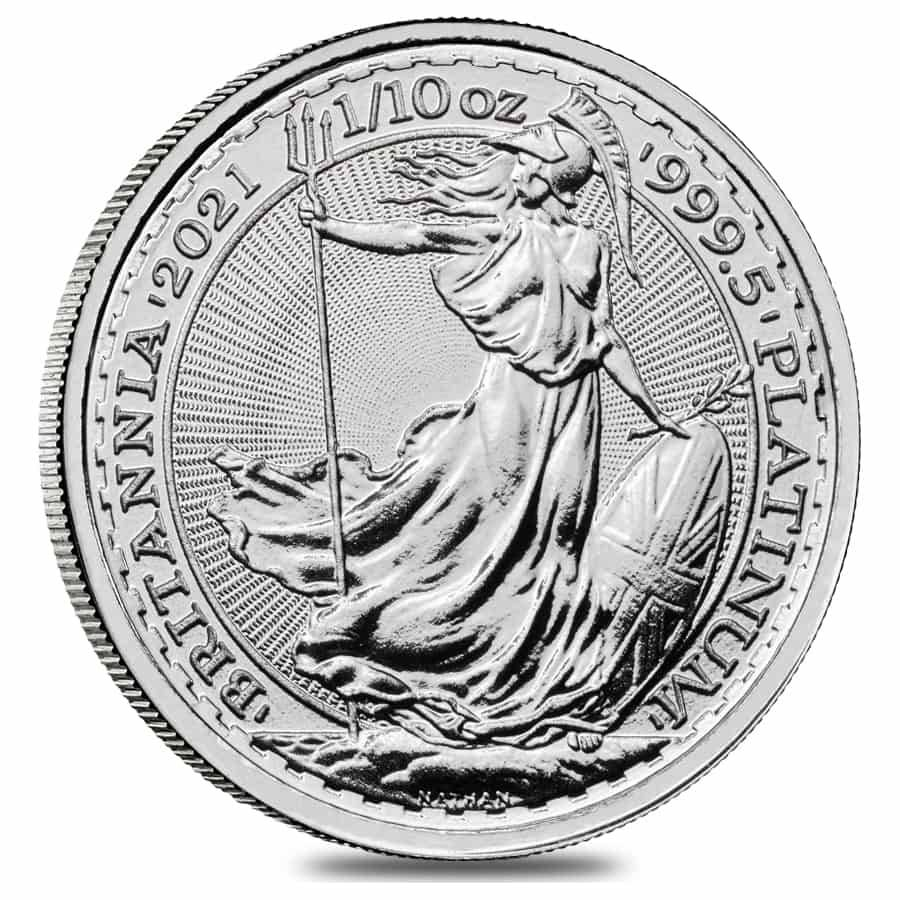 2021 Great Britain 1/10 oz Platinum Britannia Coin .9995 Fine BU