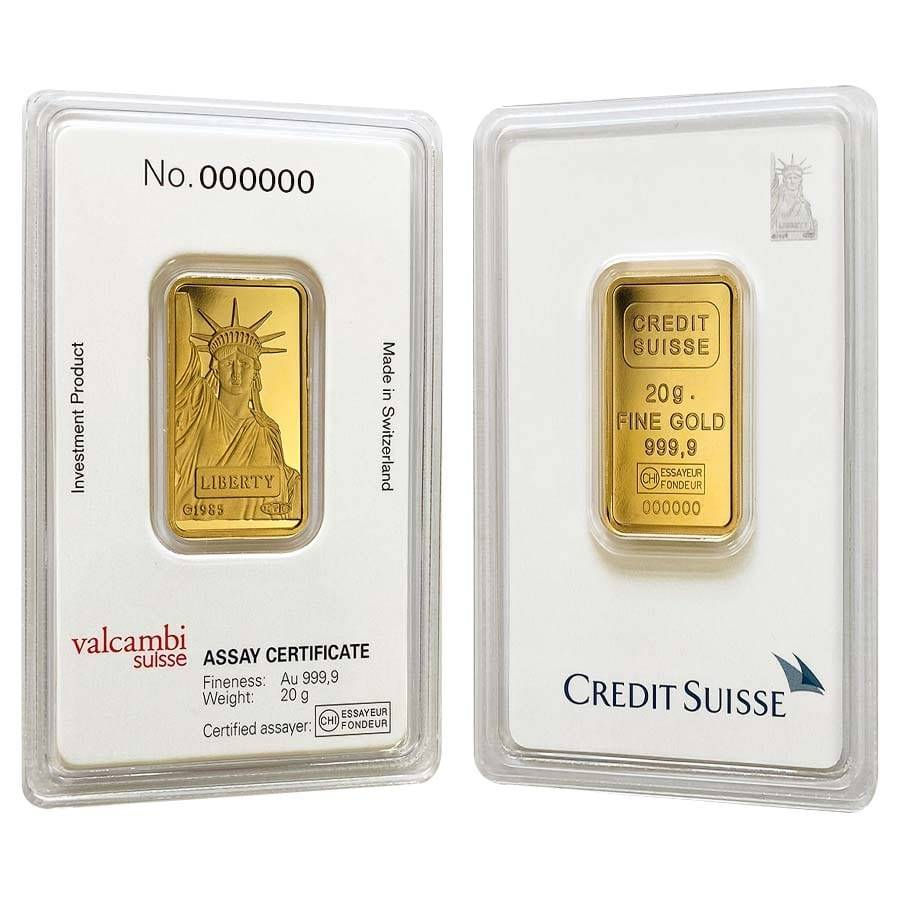20 gram Credit Suisse Statue of Liberty Gold Bar .9999 Fine (In Assay)