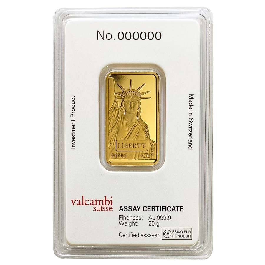 In Assay 2 gram Credit Suisse Statue of Liberty Gold Bar .9999 Fine