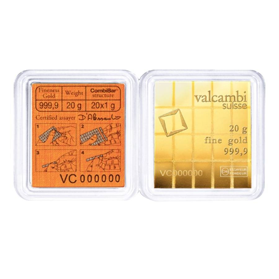 with Assay Card 0.64 oz Valcambi Suisse 20x1 Gram Gold CombiBar