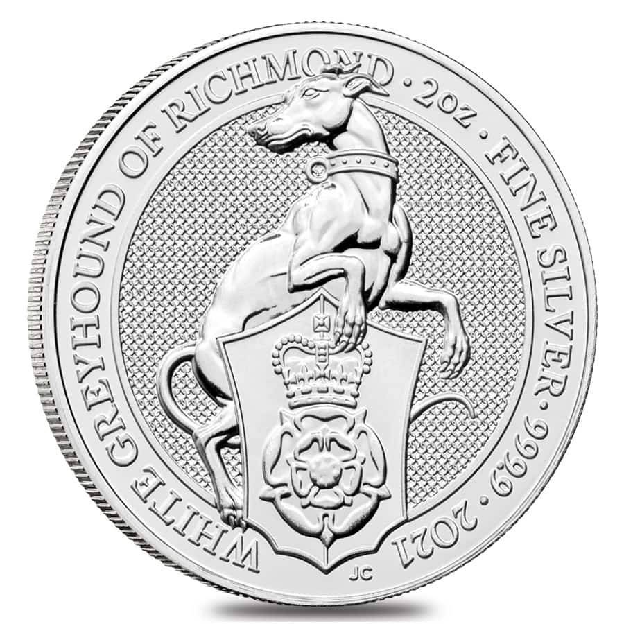 2021 Great Britain Silver Queen's Beasts White Greyhound Coin