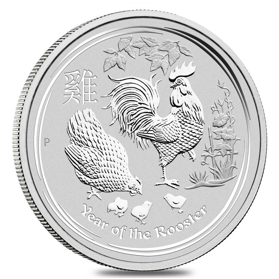 YEAR OF ROOSTER BU COIN 2017 AUSTRALIA 50 CENTS .999 SILVER 1//2 OZ