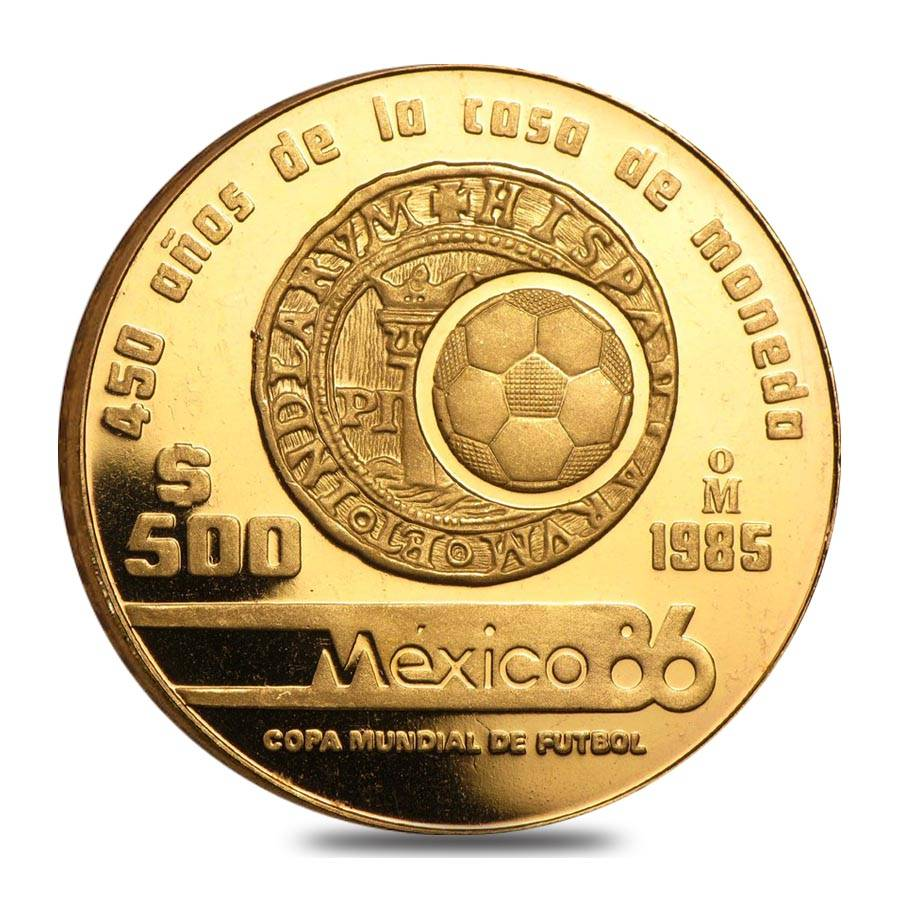 1985 Mexico 500 Peso 1 2 Oz Proof Gold World Cup 450th Anniversary Coin