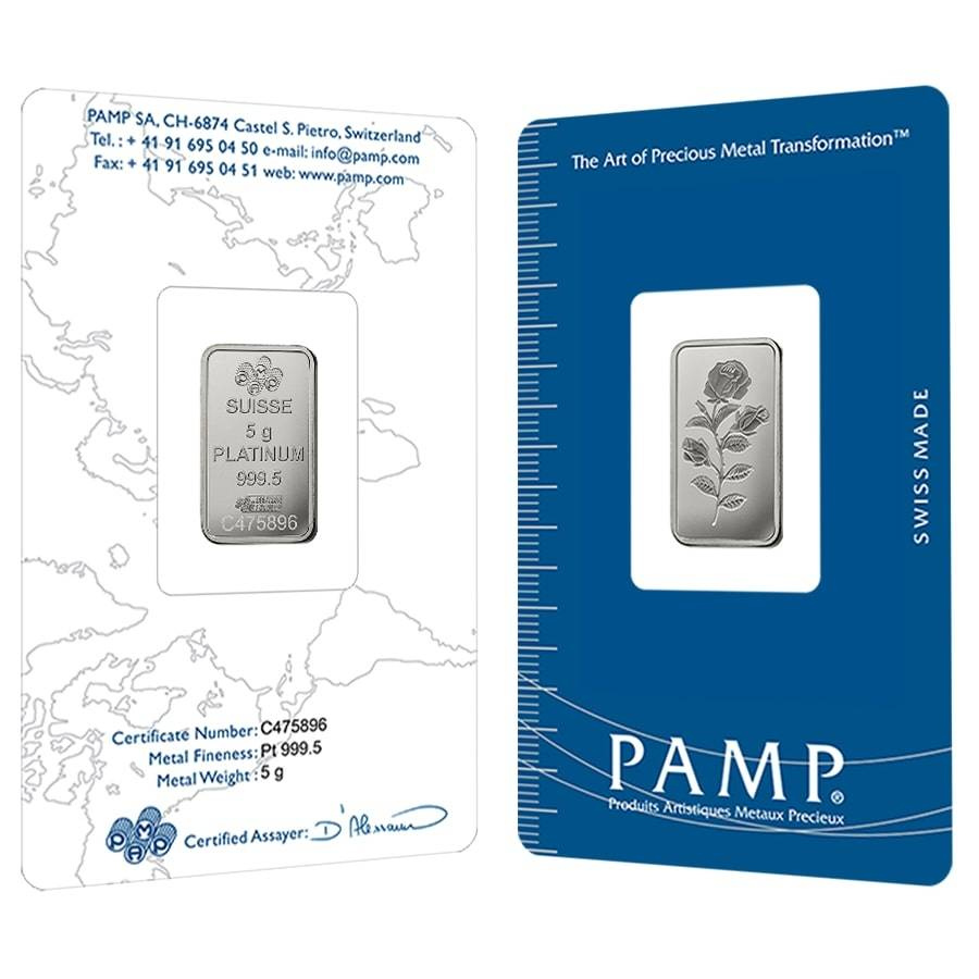 5 Gram Platinum Bar PAMP Suisse Rosa .9995 Fine (In Assay)