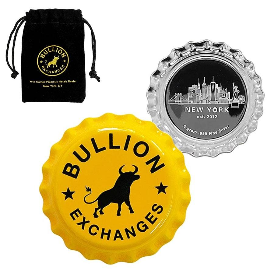 6 gram Bullion Exchanges New York Skyline - Yellow .999 Fine Silver Bottle Cap