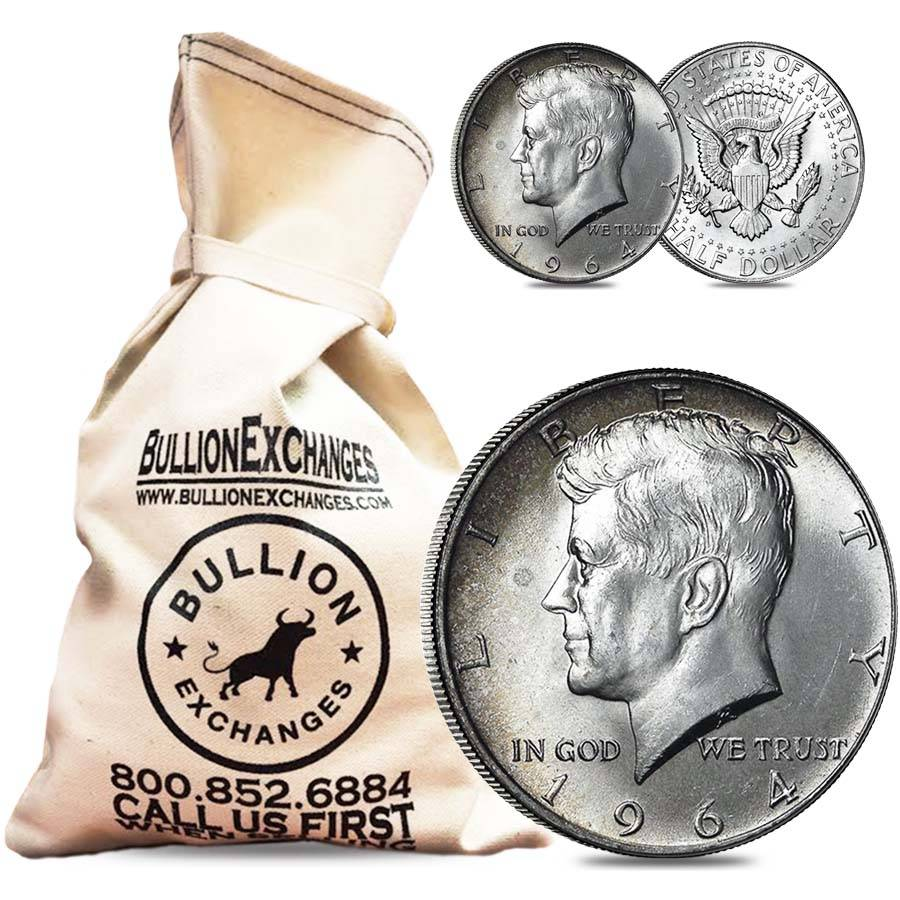 100 Fv 90 Silver 1964 Kennedy Half Dollars Bullion