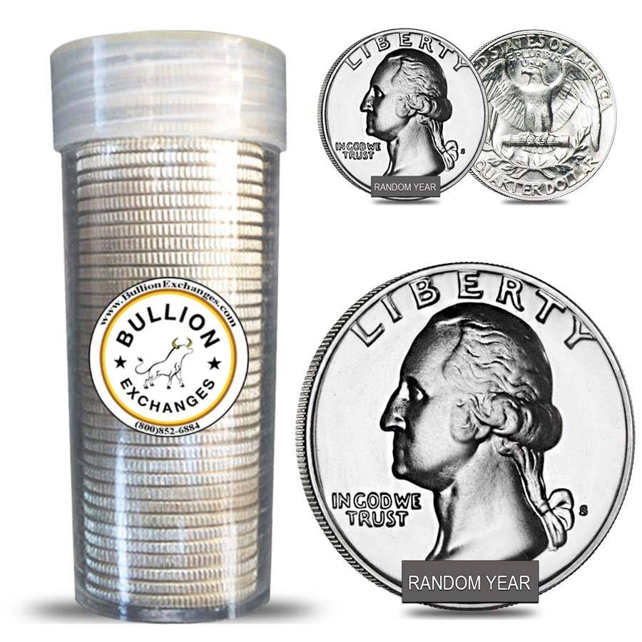 Roll of 40 $10 Face Value 90/% Silver Washington Quarters