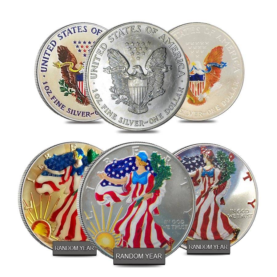1 Oz Silver American Eagle 1 Colorized Coin Random Year