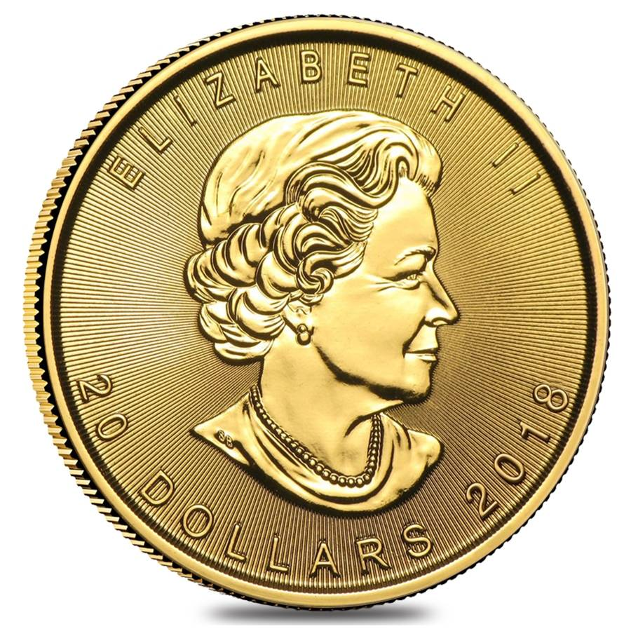 2018 1 2 Oz Canadian Gold Maple Leaf 20 Coin