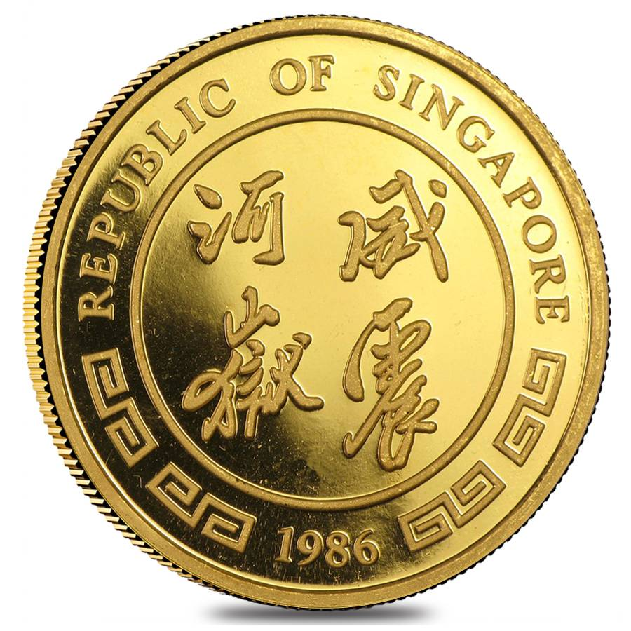 1986 1 Oz Singapore Gold 100 Singold Tiger Proof Like Coin