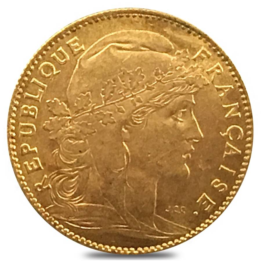 10 francs french rooster gold coin avg circ random year. Black Bedroom Furniture Sets. Home Design Ideas