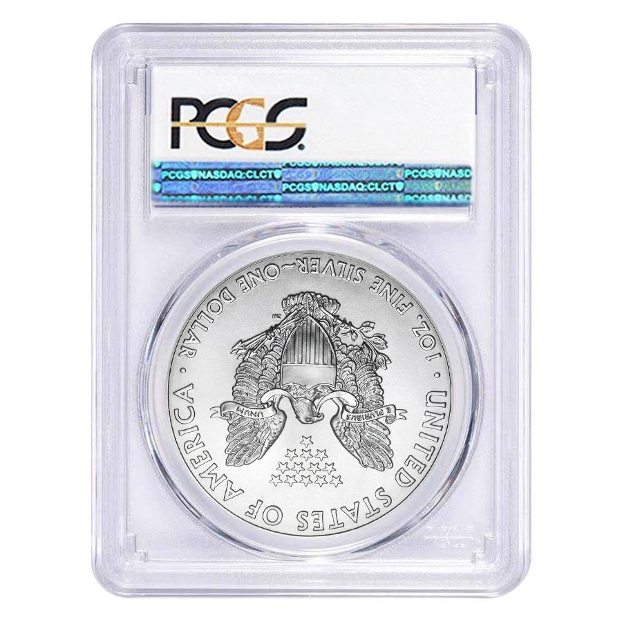 2018 silver eagle first strike PCGS MS 69 Struck at the  West Point Mint 3