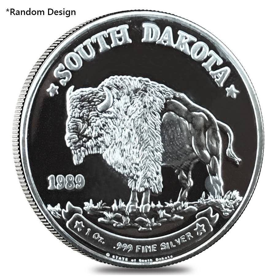 1 Oz Silver South Dakota Bison Round Random Design
