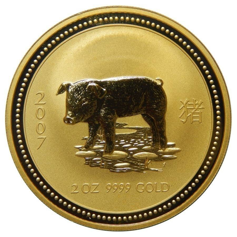 2007 2 oz Gold Year of The Pig Perth Mint | Bullion Exchanges