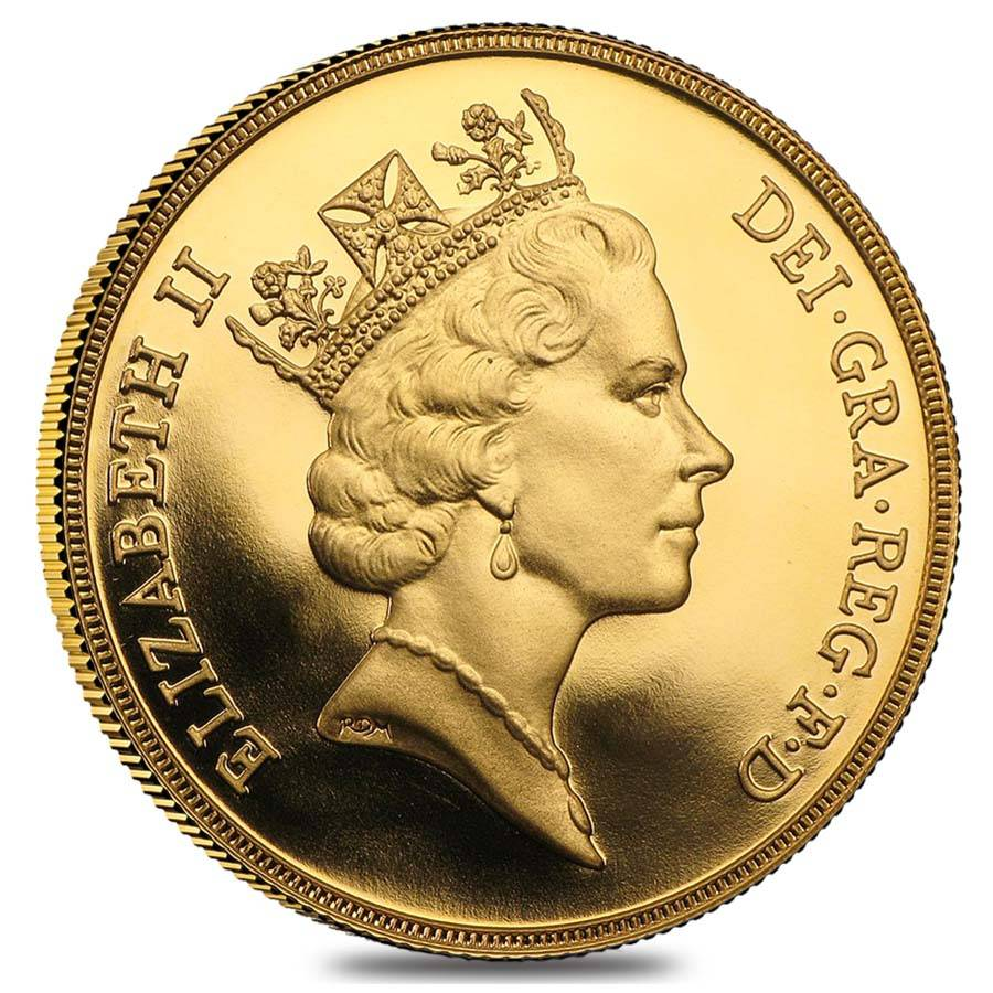 British Gold 5 Pound Sovereign Coin Bu