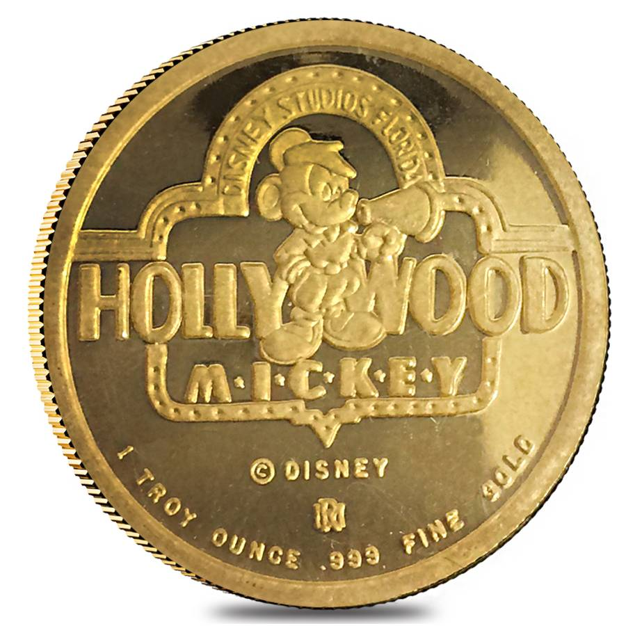 Rarities Mint 1 Oz Proof Gold Mickey Mouse Goes To Hollywood Round
