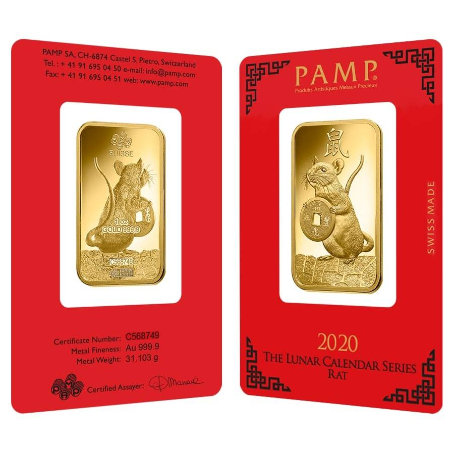 1 oz PAMP Suisse Year of the Mouse / Rat Gold Bar (In Assay)