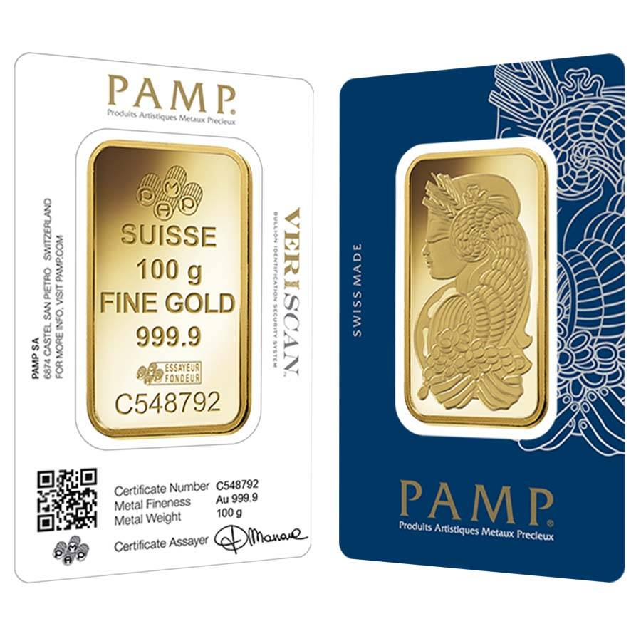 100 Gram Gold Bar Pamp Suisse Lady Fortuna Veriscan 9999 Fine In Ay