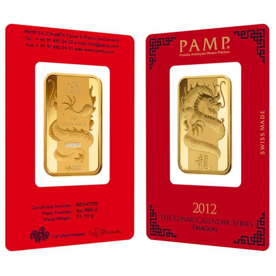 pamp suisse year of the dragon gold bar