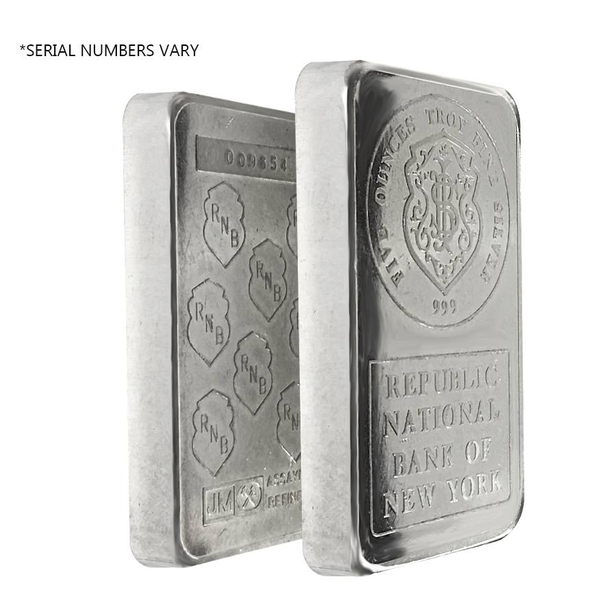 5 Oz Jm Republic National Bank Vintage Bar Bullion Exchanges