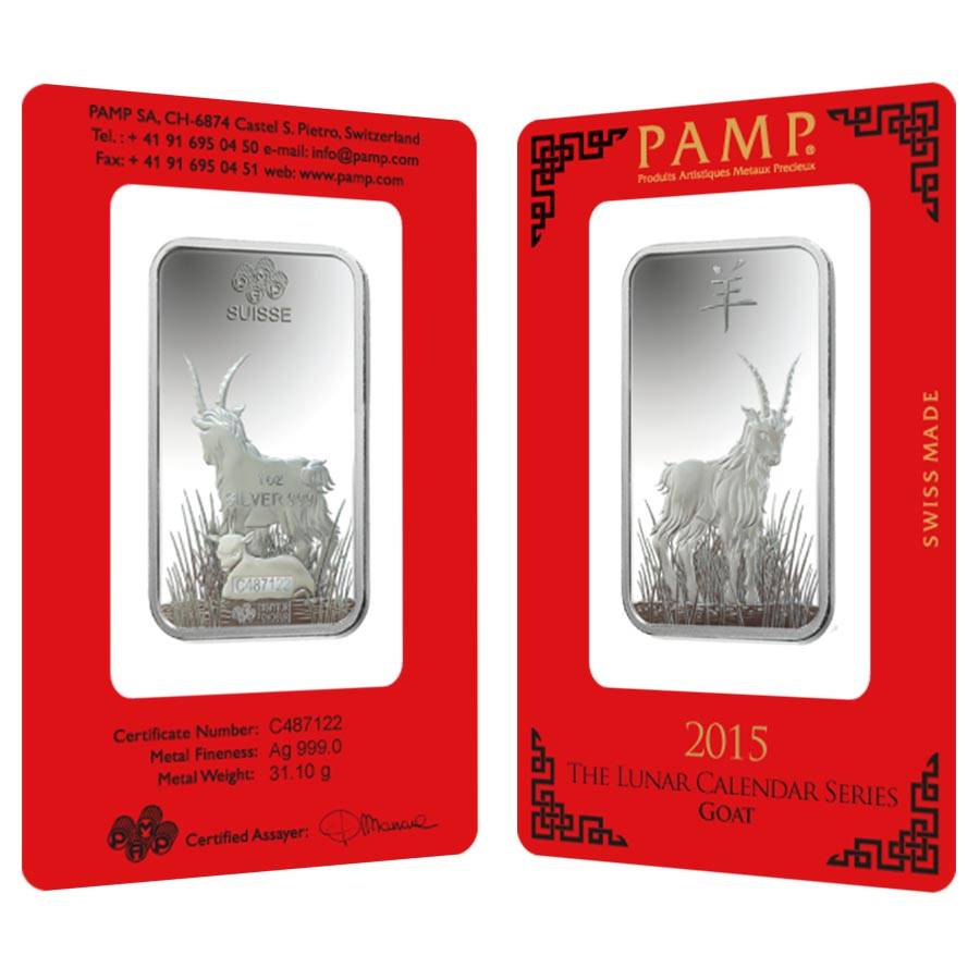 1 Oz Pamp Suisse Year Of The Goat Silver Bar In Assay