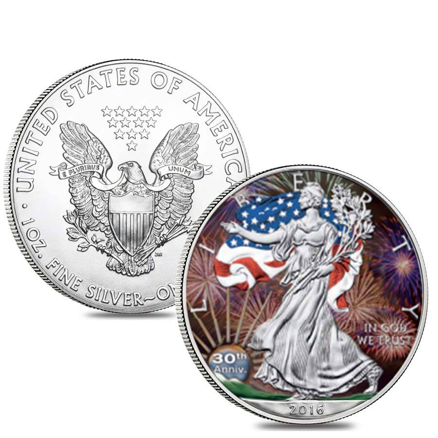 2016 1 Oz Silver American Eagle 1 Coin Bu Colored In