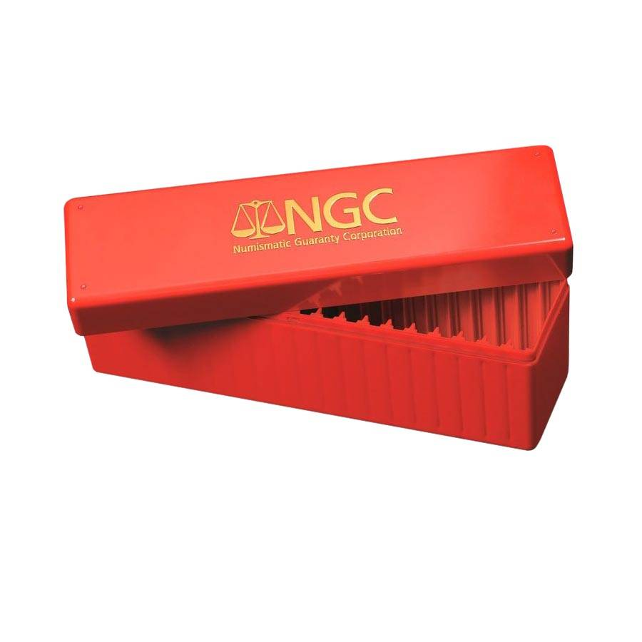 Ngc 20 coin empty red storage box for Money storage box