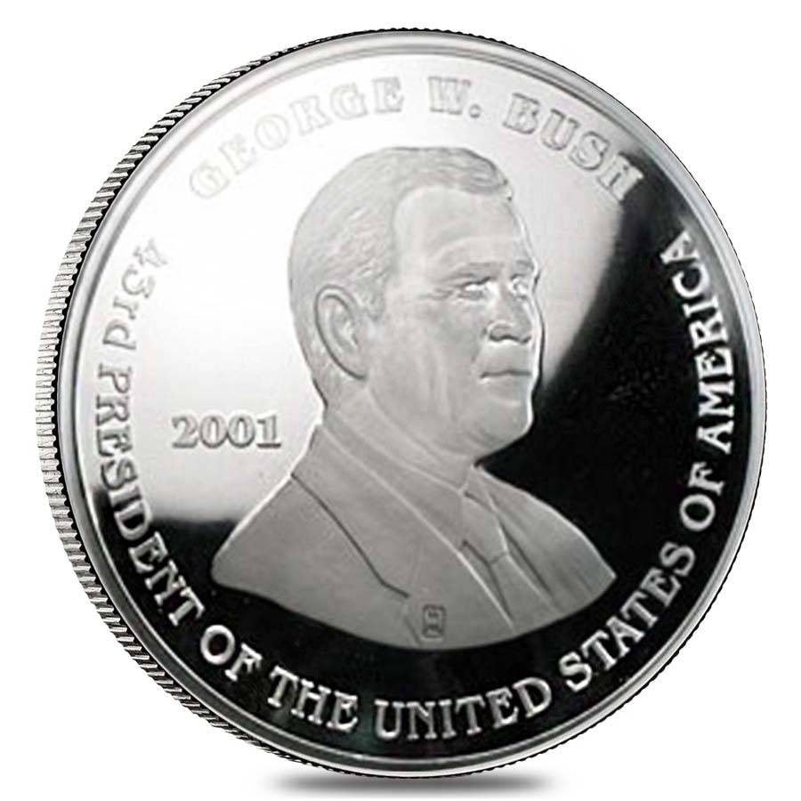 2001 8 Oz George Bush Al Gore Silver Round Bullion Exchanges
