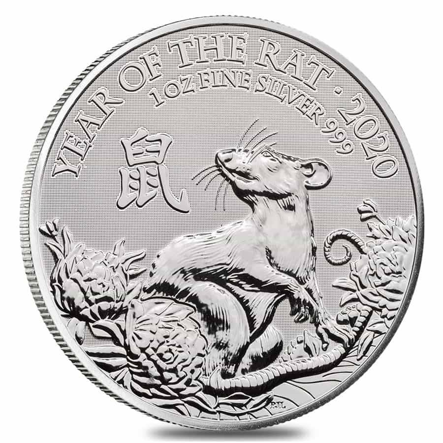 2020 Great Britain 1 oz Silver Year of the Mouse / Rat Coin .999 Fine BU In Cap