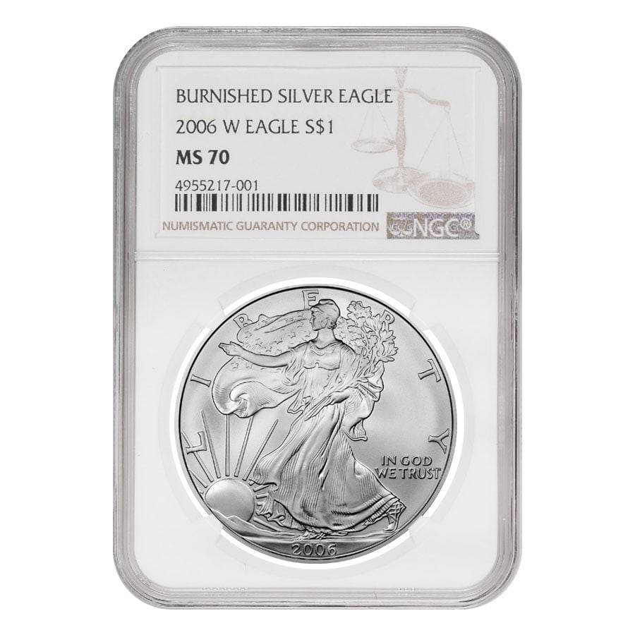 2006-W 1 oz Burnished Silver American Eagle NGC MS 70