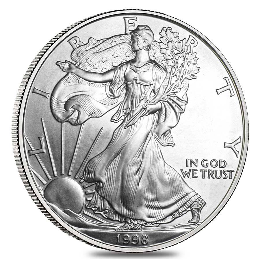 Roll Of 20 1998 1 Oz Silver Eagle Coin Bu Bullion