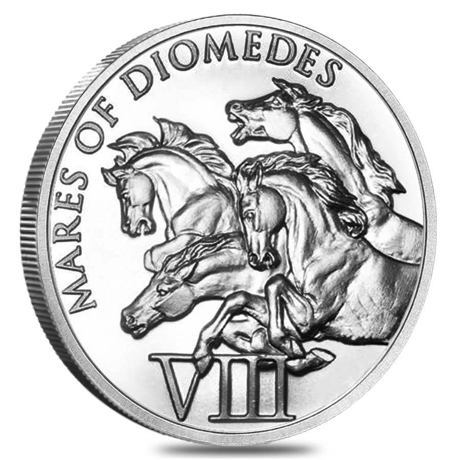 1 Oz Hercules Eighth Labor Mares Of Diomedes Silver Round