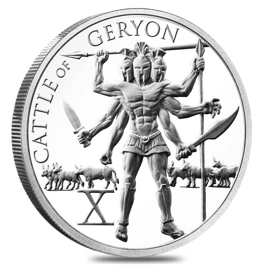 1 Oz Hercules Tenth Labor Cattle Of Geryon Silver Round