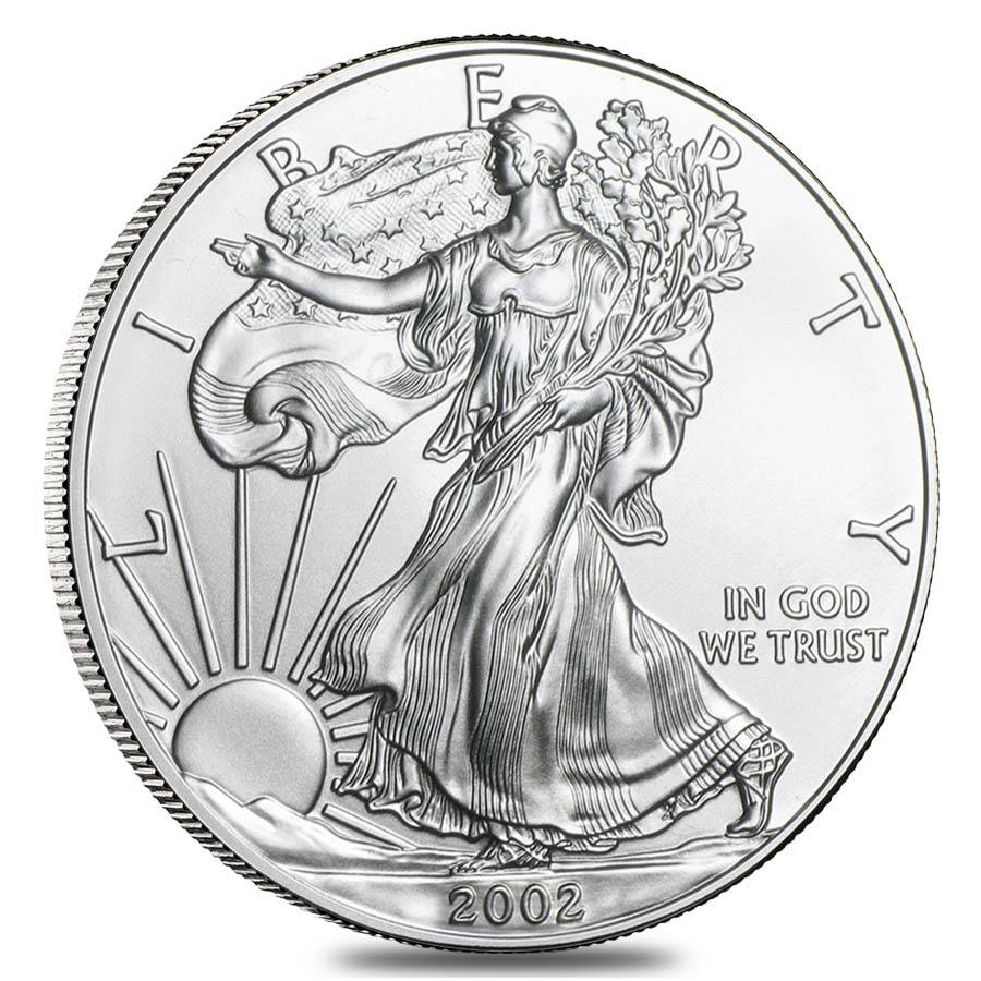 Roll Of 20 2002 1 Oz Silver Eagle Brilliant Uncirculated