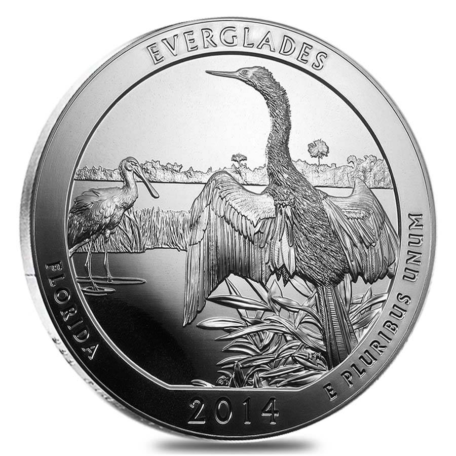 2014 5 Oz Silver Atb Everglandes National Park Coin