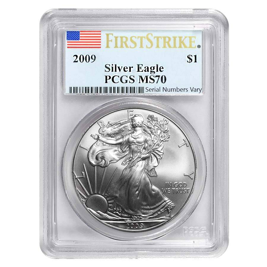 2009 1 Silver American Eagle Pcgs Ms 70 First Strike