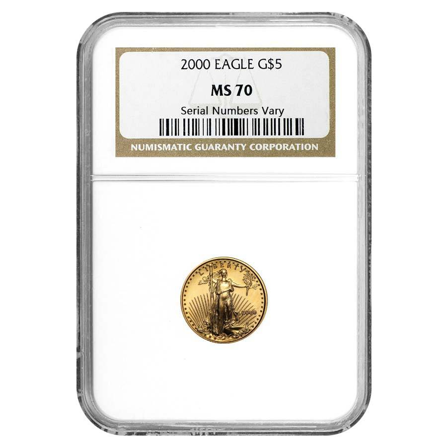 Certified American $5 Gold Eagle 2000 MS70 NGC
