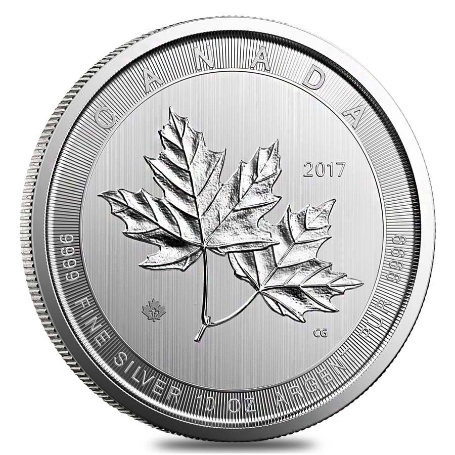 2017 10 Oz Canadian Magnificent Silver Maple Leaf Coin In Cap
