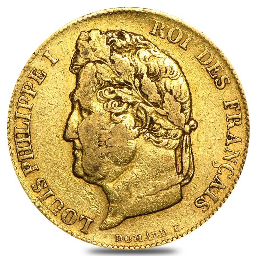 France gold 20 francs louis philippe i avg circ agw 1867 for France francs