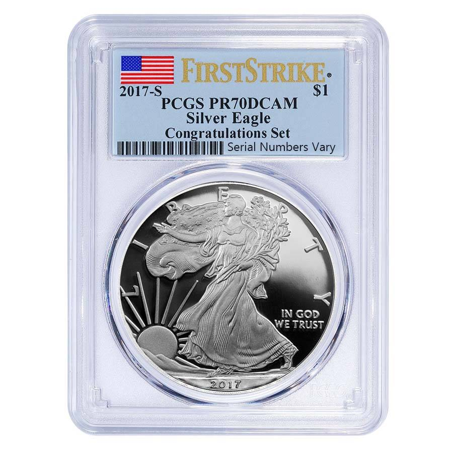 2017 S 1 Oz Proof Silver American Eagle Pcgs Pf 70 Fs