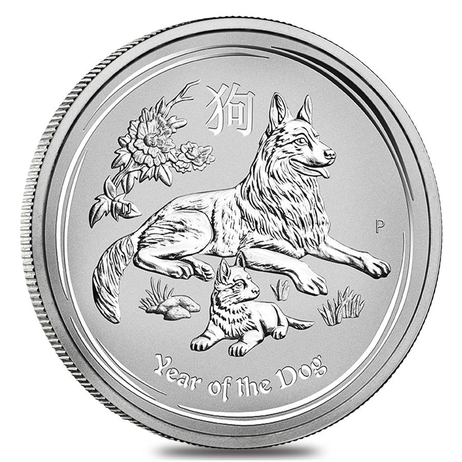 2018 1 oz Silver Lunar Year of The Dog BU Australian Perth Mint In Cap